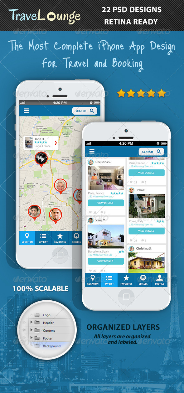 GraphicRiver TraveLounge Flat iPhone App for Travel & Booking 6296437