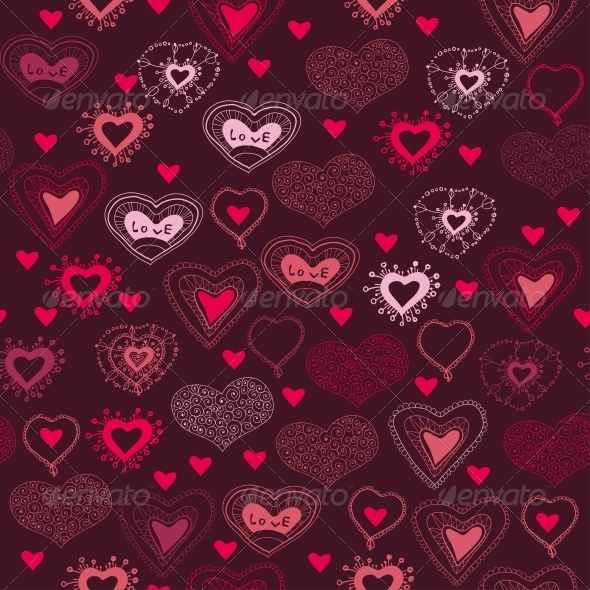 GraphicRiver Romantic Seamless Pattern with Hearts 6296443