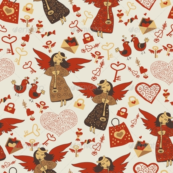 GraphicRiver Valentine Wallpaper with Angels 6296583