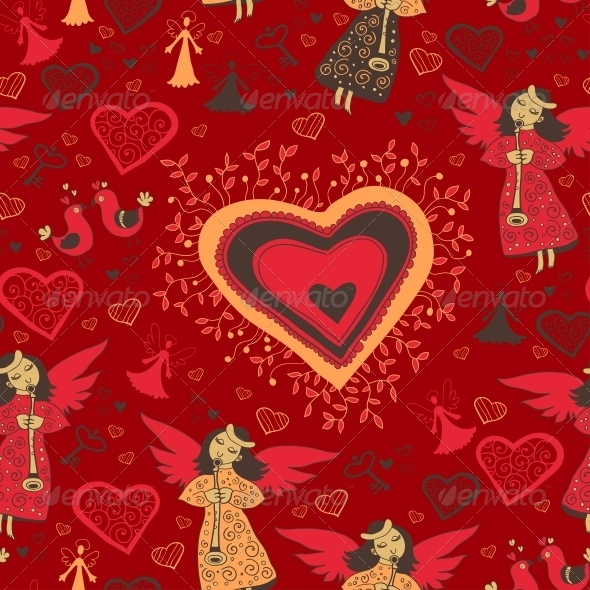 GraphicRiver Romantic Valentine Pattern with Angel 6296605