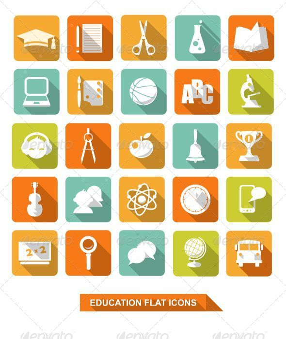 GraphicRiver Flat Education Icons with Shadow 6296709
