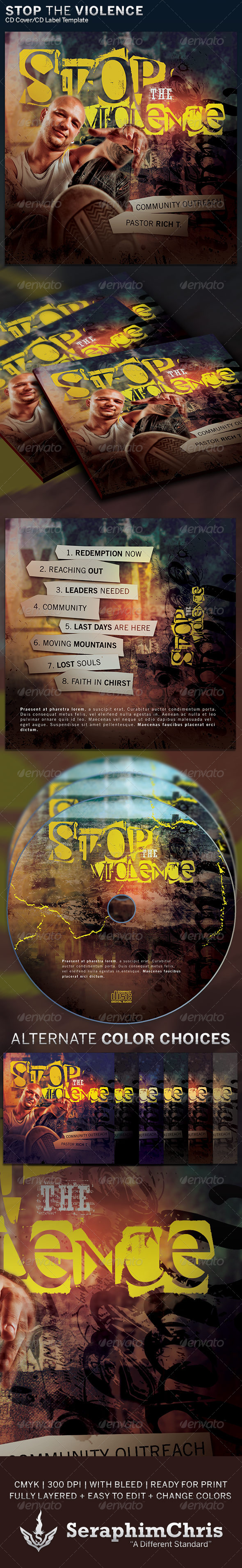 GraphicRiver Stop the Violence CD Cover Artwork Template 6296760