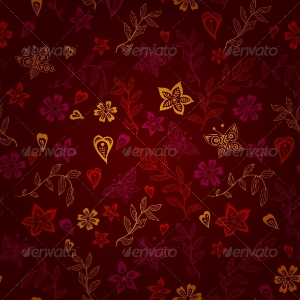 GraphicRiver Butterfly and Flowers Pattern 6297122