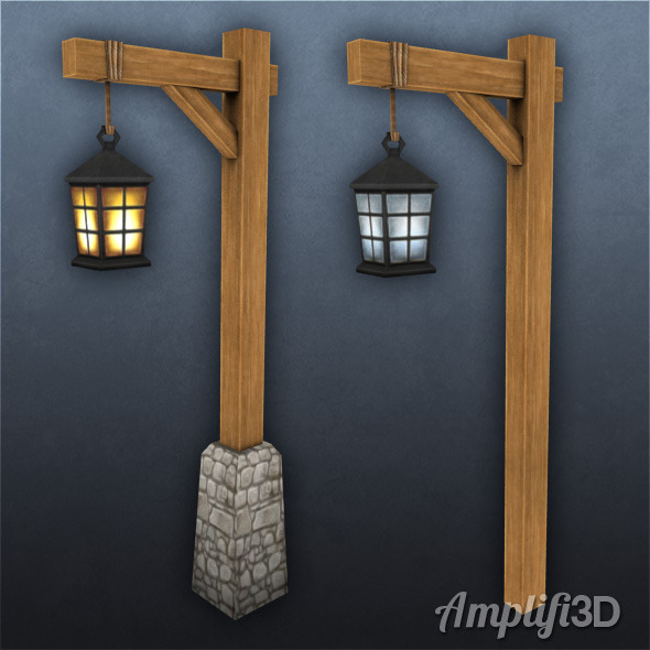 3DOcean Wood Lamp Post with Hand-painted Texture Style 6298248