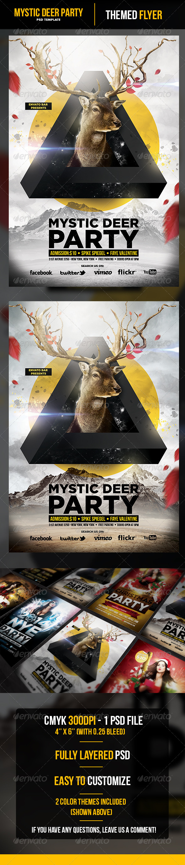 GraphicRiver Mystic Deer Flyer Template 6298517
