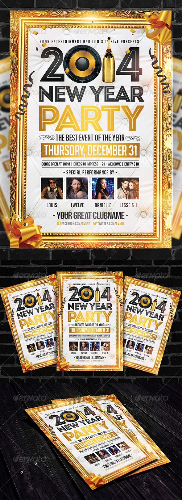 GraphicRiver Golden New Year Flyer Template 6299010