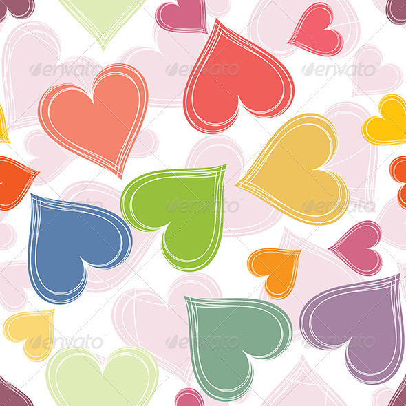 GraphicRiver Colorful Paired Hearts Background 6299407