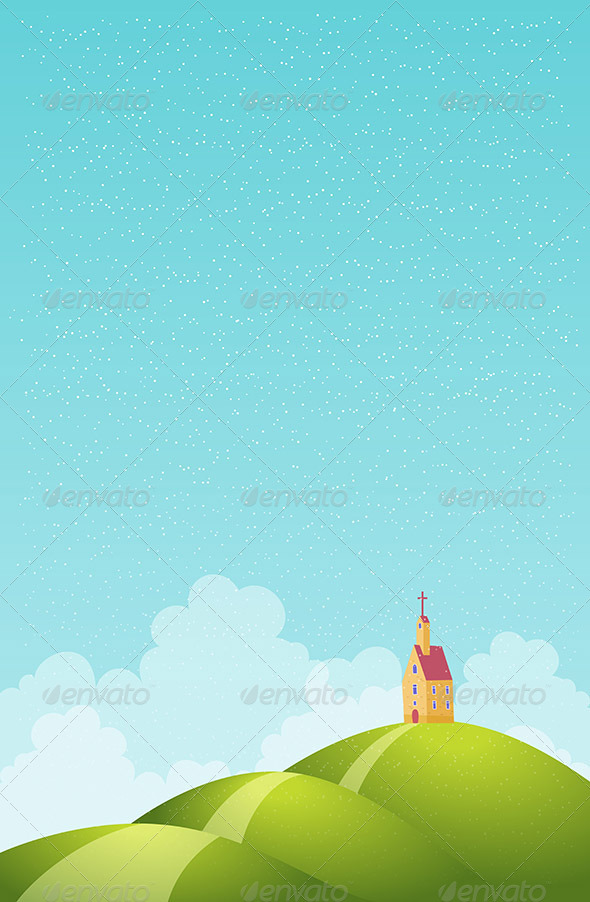 GraphicRiver Church at the Snowy Hills 6299457