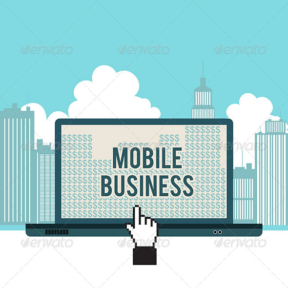 GraphicRiver Mobile Business City Laptop Concept 6299462