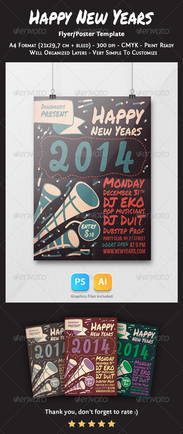 GraphicRiver Happy New Years Flyer Template 6299595