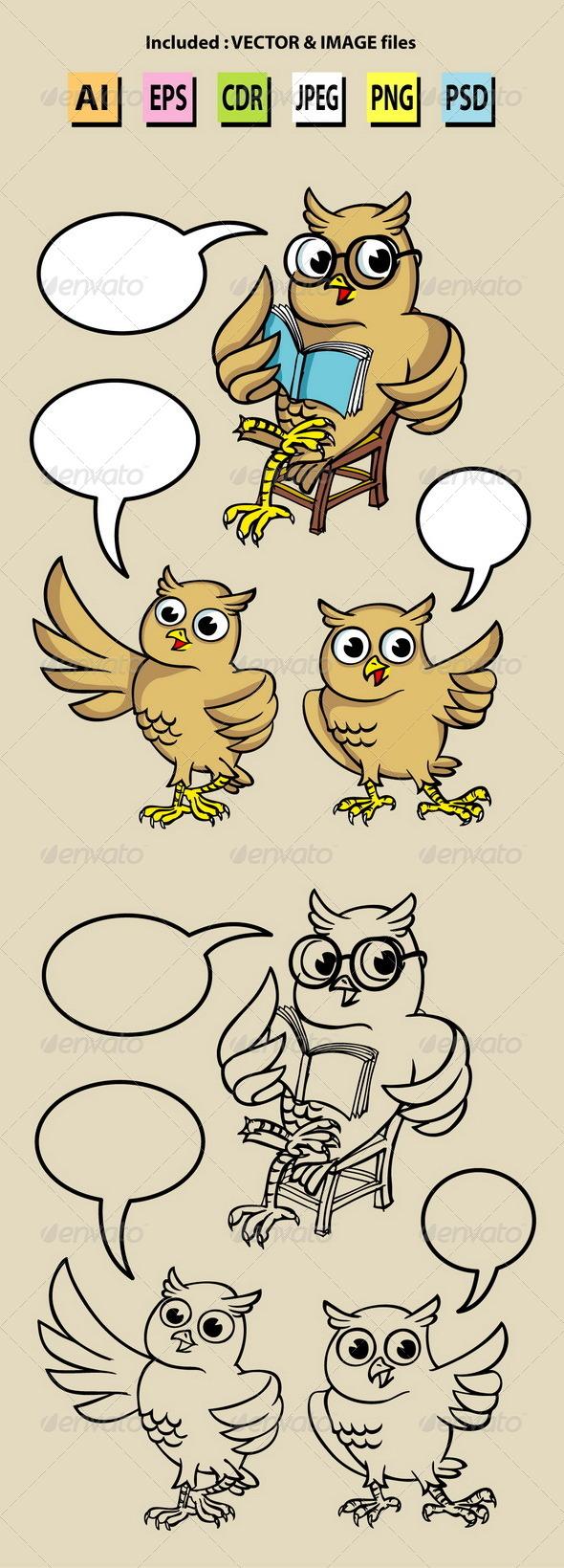 Owl Cartoon Character Vectors - Animals Characters