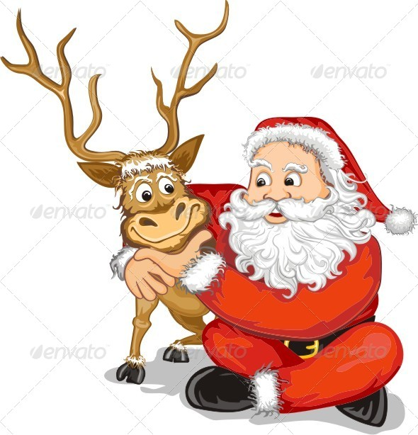 GraphicRiver Santa Claus and Reindeer 6299603