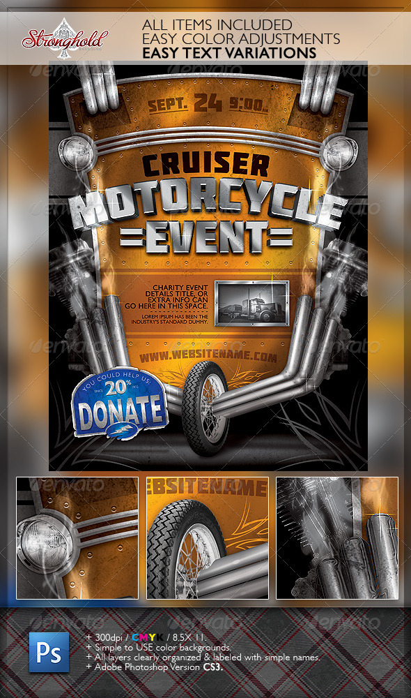 GraphicRiver Vintage Motorcycle Event Flyer Template 6299607