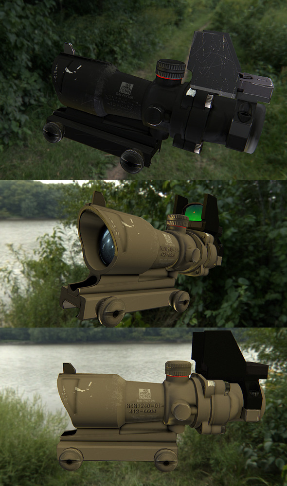 3DOcean Low poly scope for rifle 6299644