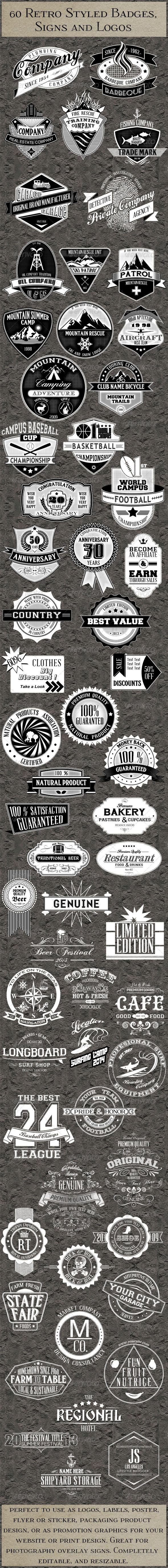 GraphicRiver 60 Retro Badges Logos Insignias 6300304