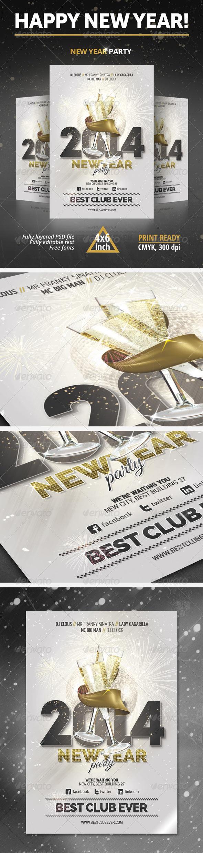 Flyer pars Año Nuevo Elegante