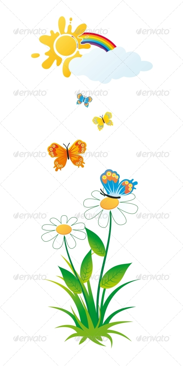 GraphicRiver Butterflies and Flowers 6300493