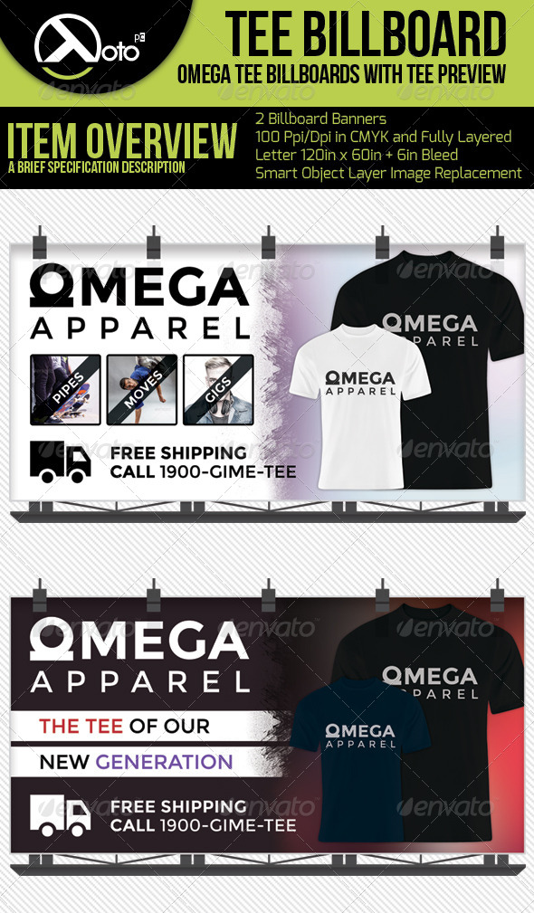 GraphicRiver Omega Apparel Billboards With T-shirt Previews 6300899