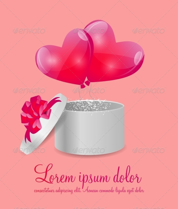 GraphicRiver Valentines Day Card with Gift Box and Heart Shaped 6300909