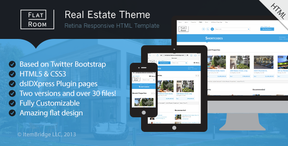 ThemeForest FlatRoom Responsive Real Estate HTML Template 6301671