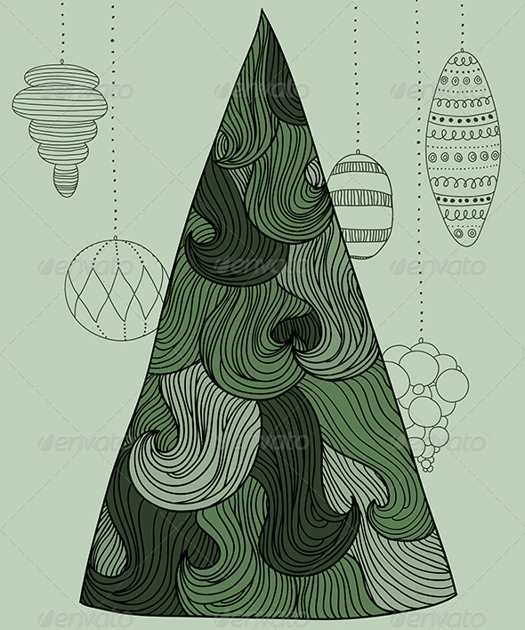 GraphicRiver Wavy New Year Tree 6302043