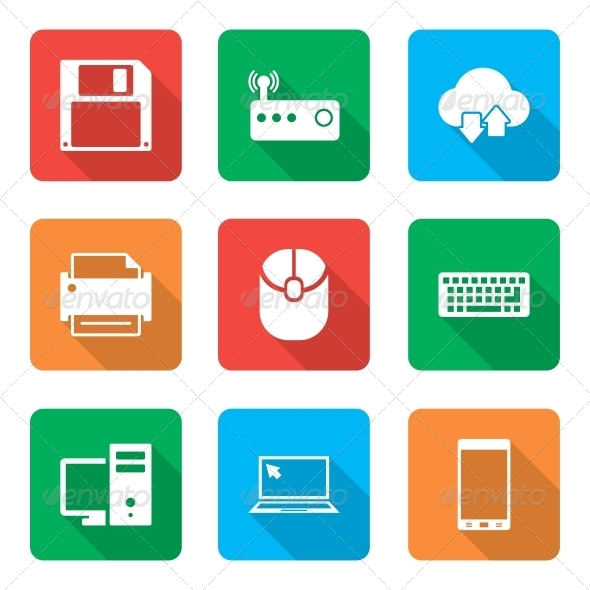 GraphicRiver Technology Icons Set with Shadow 6302502
