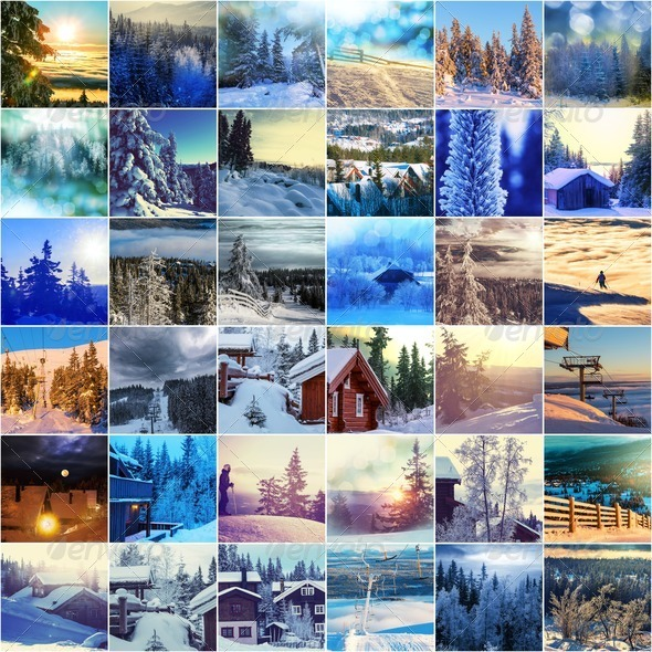 Winter collage - Stock Photo - Images