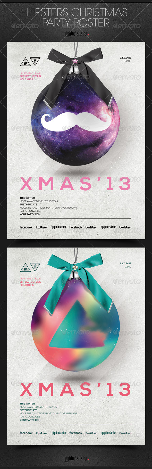 GraphicRiver Hipsters Christmas Ball Party Posters 6303372