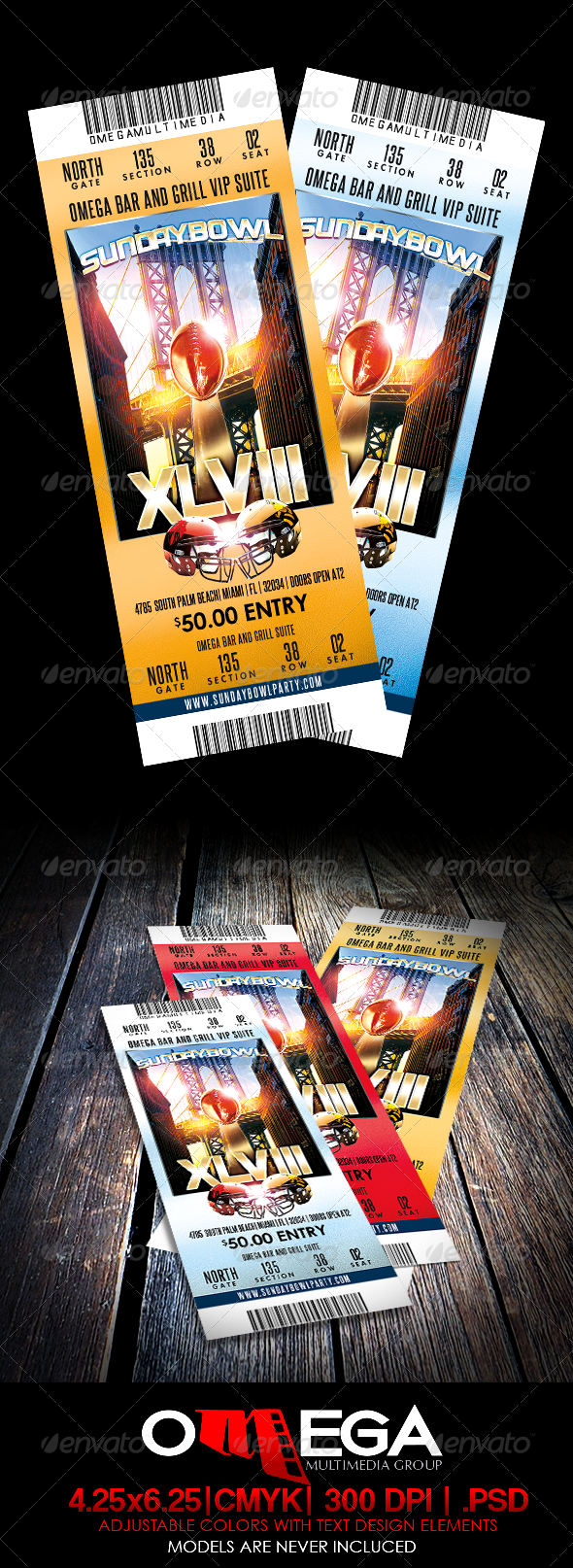 GraphicRiver SundayBowl Flyer Ticket 6288240