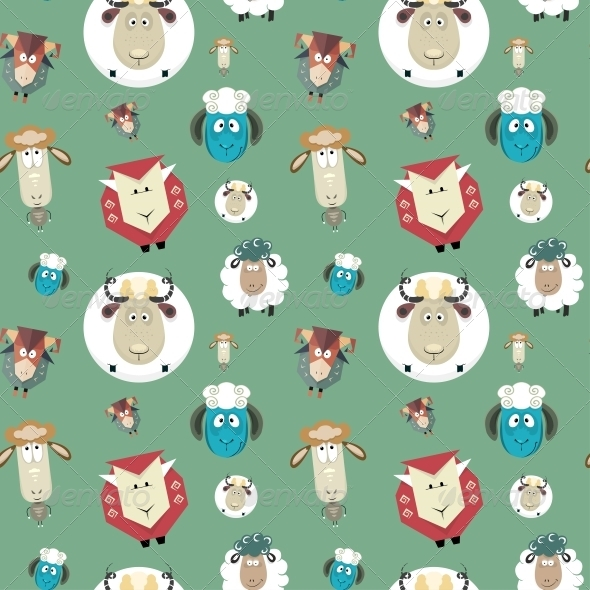 GraphicRiver Seamless Pattern of Cartoon Funny Sheeps 6303775