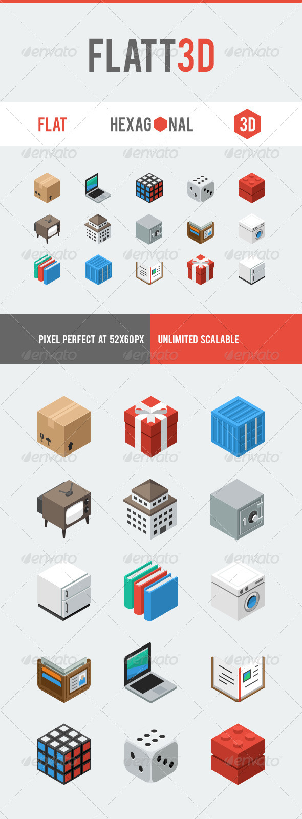 GraphicRiver Flatt3D Icon Pack 6303779