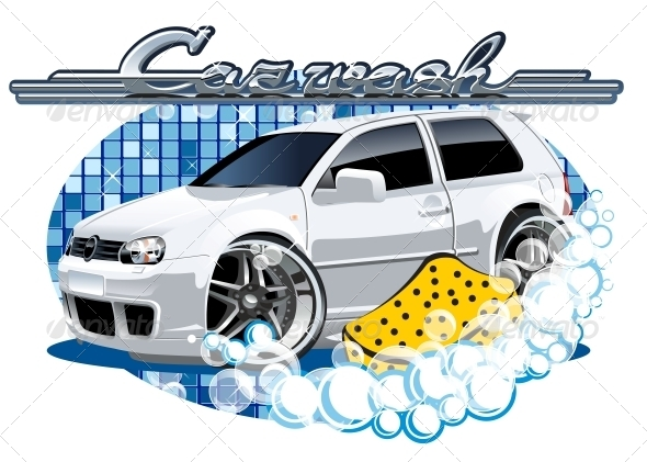 GraphicRiver Car Washing Sign with Sponge 6303788