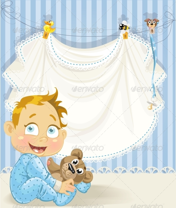 GraphicRiver Baby Boy Blue Openwork Announcement Card 6304114