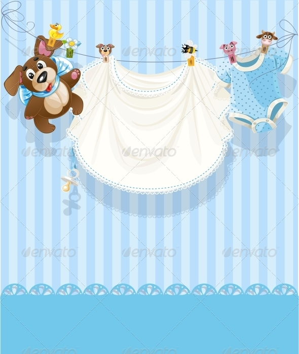 GraphicRiver Baby Boy Openwork Announcement Card 6304118