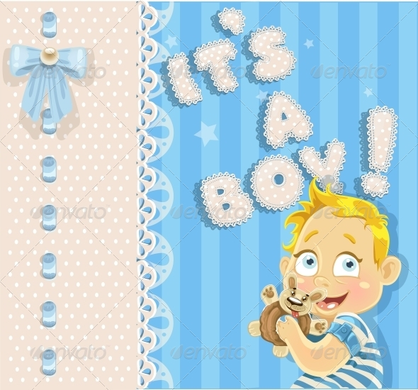 GraphicRiver It s a Boy Blue Openwork Card 6304229