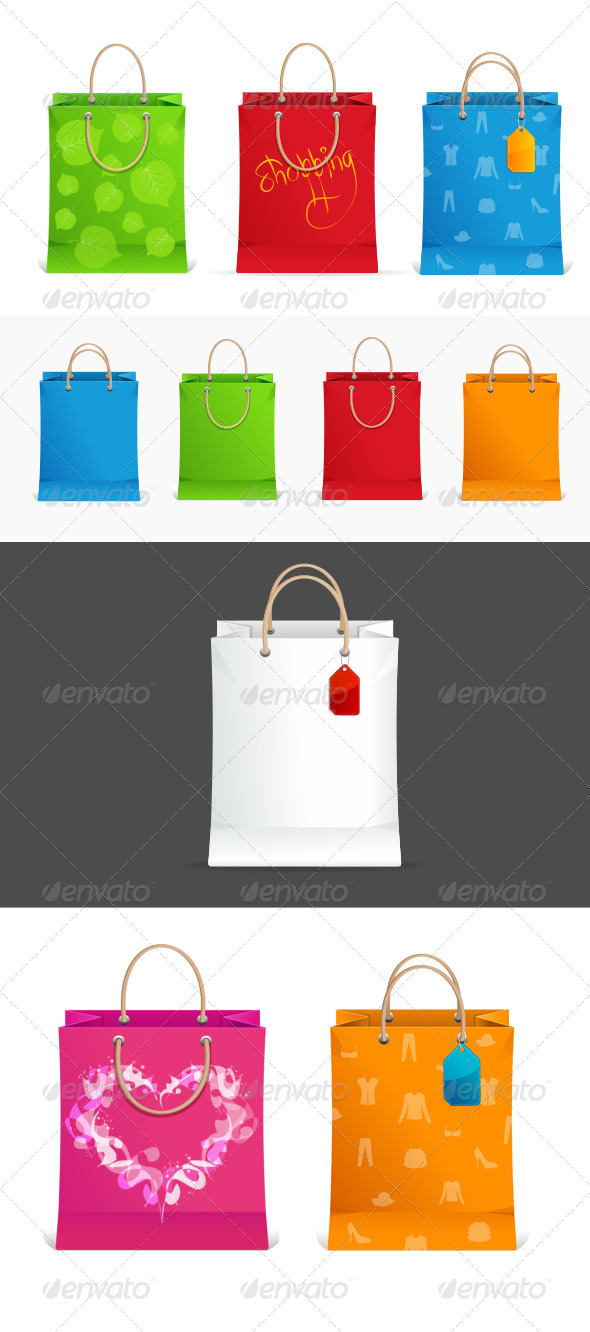 GraphicRiver Shopping Bags Colorful Set 6304239