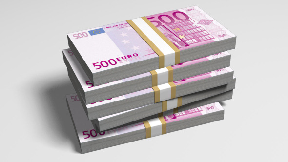 500 Euro Bills Falling On A Stack FullHD&Alpha