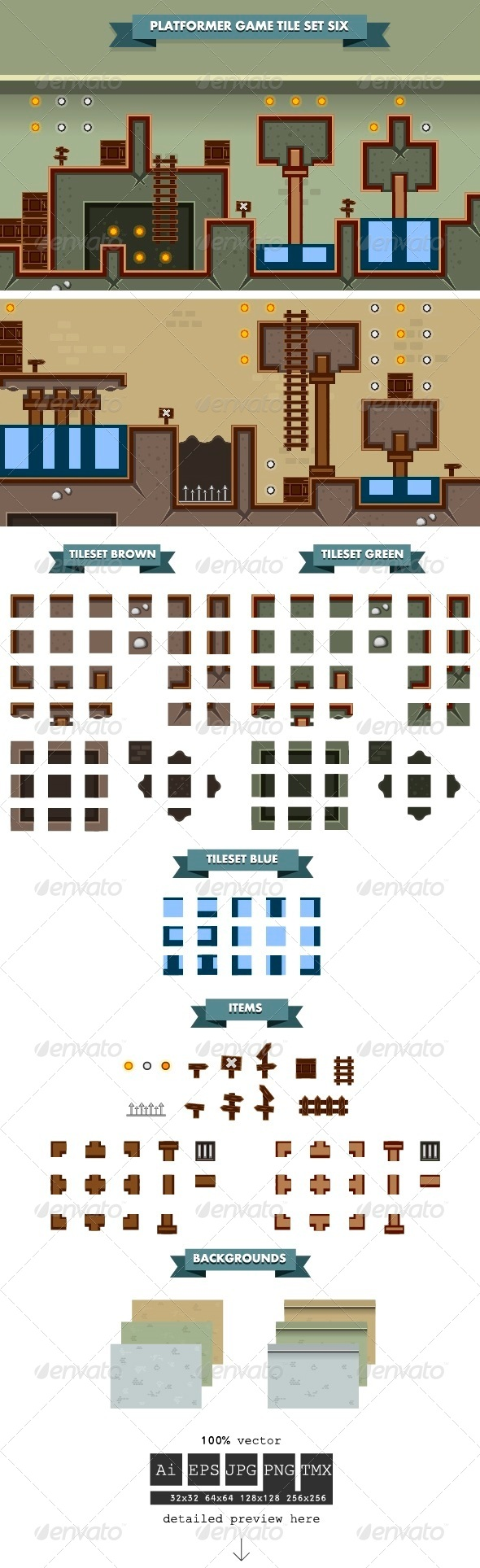 GraphicRiver Platformer Game Tile Set Six 6304280