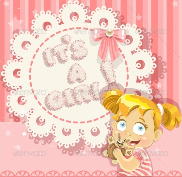 GraphicRiver It s a Girl Pink Openwork Card 6304438