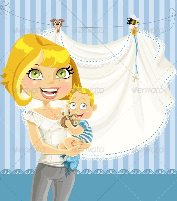GraphicRiver Mom with Baby Boy Blue Openwork Announcement Card 6304487