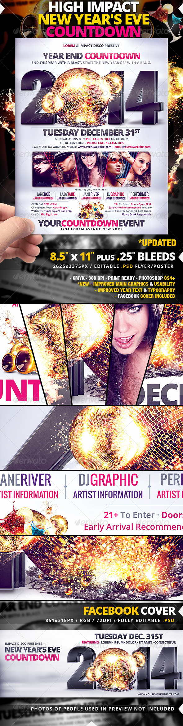 High Impact New Year's Eve Countdown Flyer/Poster - Clubs & Parties Events