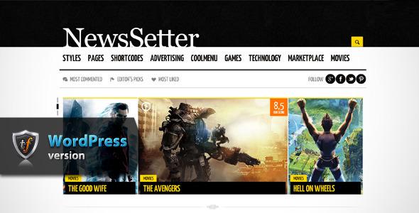ThemeForest NewsSetter News WordPress Theme 6000623