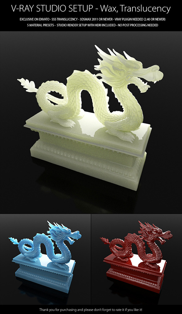 V-Ray Studio Setup - Wax and Translucency - 3DOcean Item for Sale