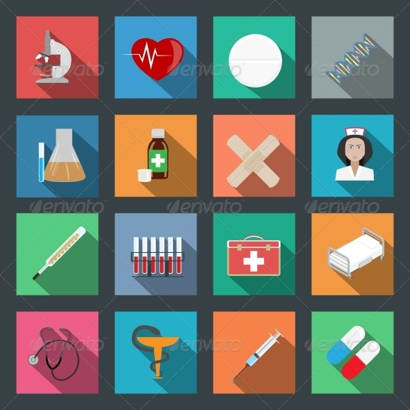 GraphicRiver Medicine Flat Icons Set 6305732