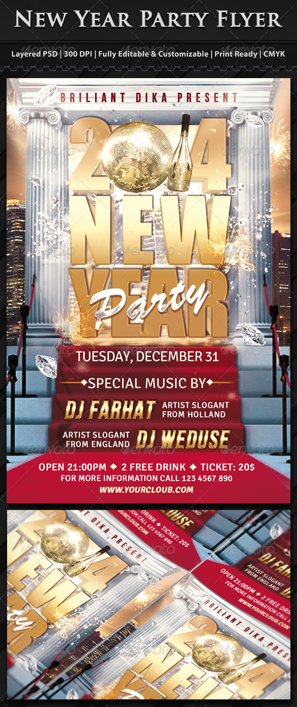 GraphicRiver New Year Party Flyer Template 6307225