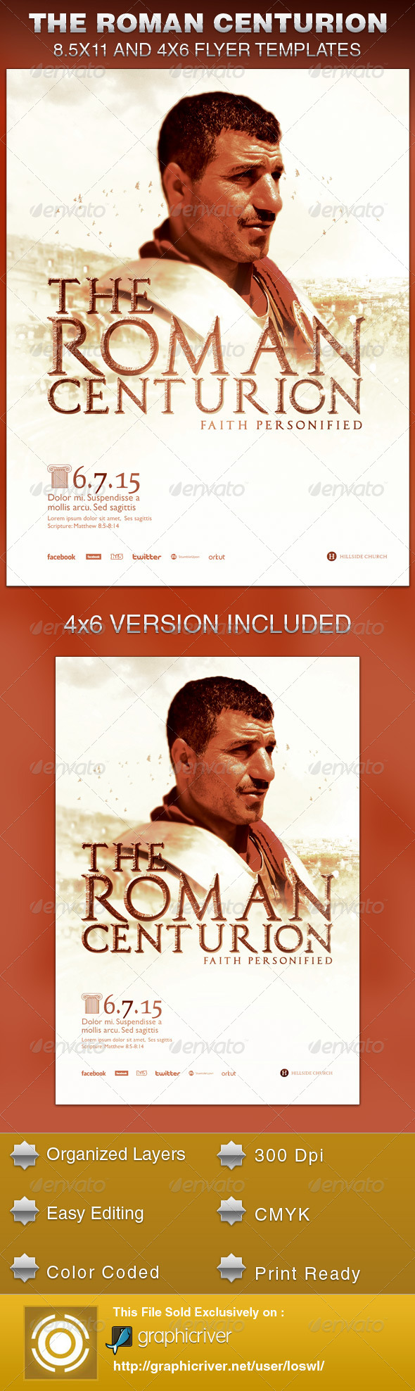 GraphicRiver The Roman Centurion Church Flyer Template 6307330