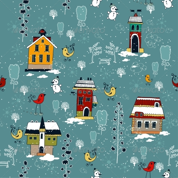 GraphicRiver Winter Background with Houses 6307446