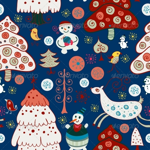 GraphicRiver Winter Christmas Forest Seamless Pattern 6307794