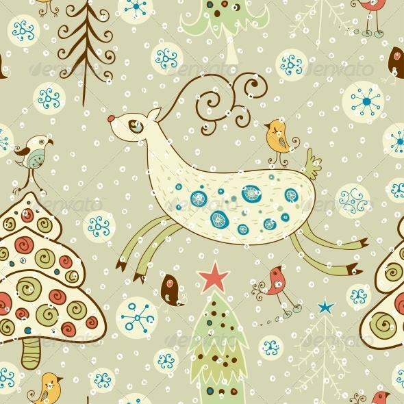 GraphicRiver Christmas Pattern Forest and Deer 6307833