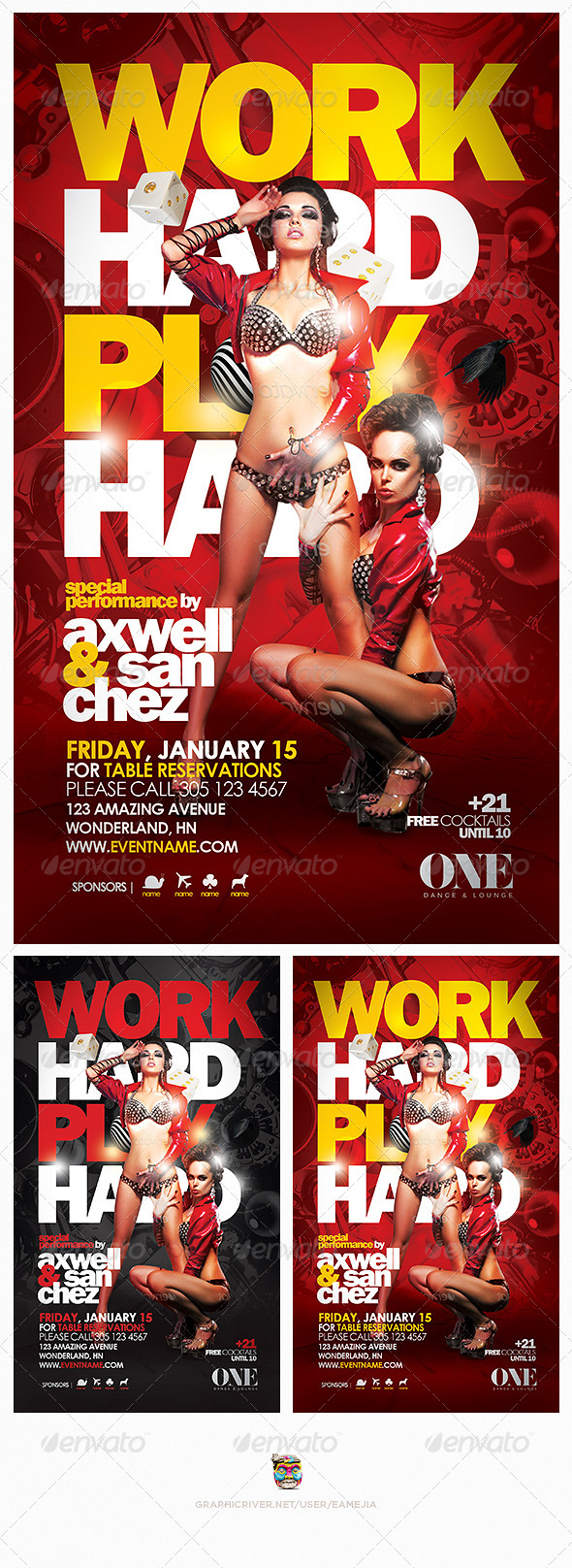 Work Hard Play Hard Flyer Template - Events Flyers